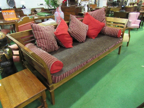 Lot 106 - Hardwood open framed large sofa or daybed comes with cushions, 236cms x 88cms x 90cms