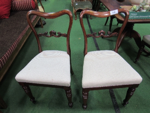 Lot 128 - 4 Victorian mahogany upholstered seats with carved scrolled splat backs