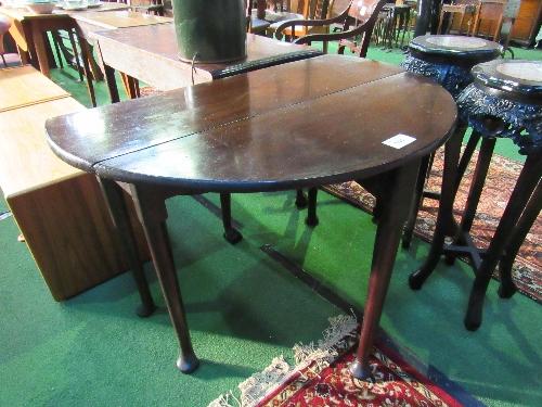 Lot 141 - Good quality mahogany gate-leg table on pad feet, 106cms (open) x 106cms x 70cms