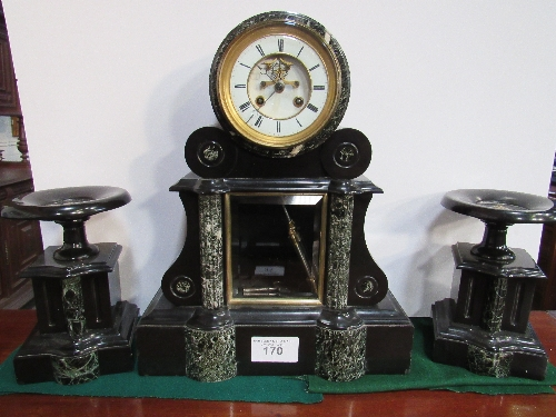 Lot 170 - 19th century 8-day French 3 piece black marble clock with visible escapement & mercury pendulum