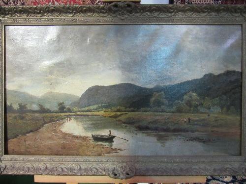 Lot 182 - Gilt framed & glazed oil on canvas river & mountain scene, signed Brockman, 1878 (believed Charles H Drake Brockman)