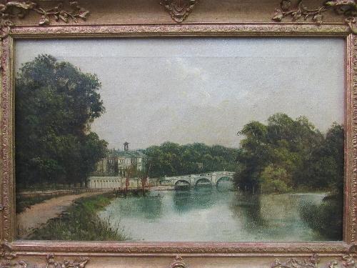 Lot 192 - Gilt framed oil on canvas of Richmond Bridge, signed J Lewis (James Isiah Lewis, 1861-1934)