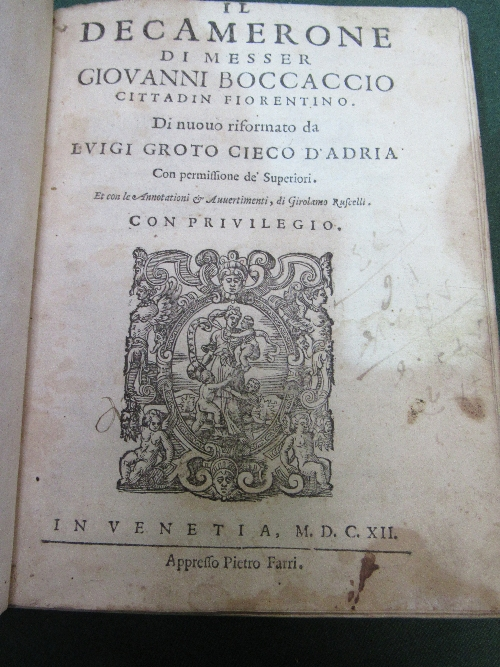 Lot 300 - Il Decamerone by Giovanni Boccaccio (an Italian novel of The Renaissance), published in Venice 1612, in good condition, in early vellum binding