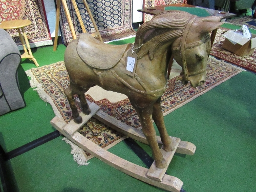 Lot 31 - Pine carved horse on rockers (as found)