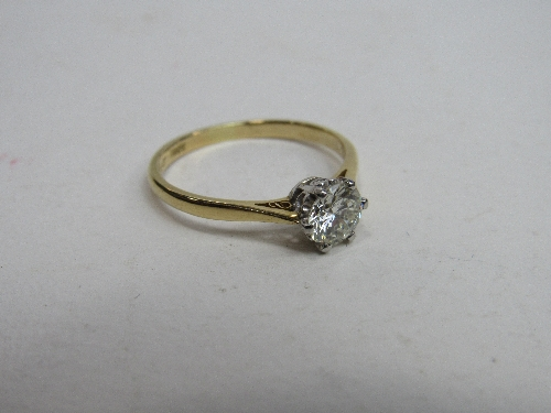 Lot 364 - 18ct gold diamond solitaire ring, approx .75 carat diamond, size S0.5, wt 3.2gms.