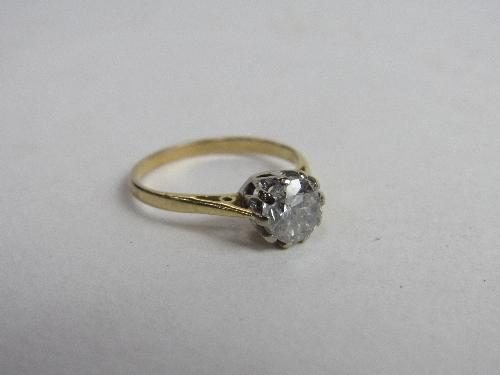 Lot 367 - 18ct gold diamond solitaire ring, diamond - 1.01 carat, size O1/2, wt 2.00gms