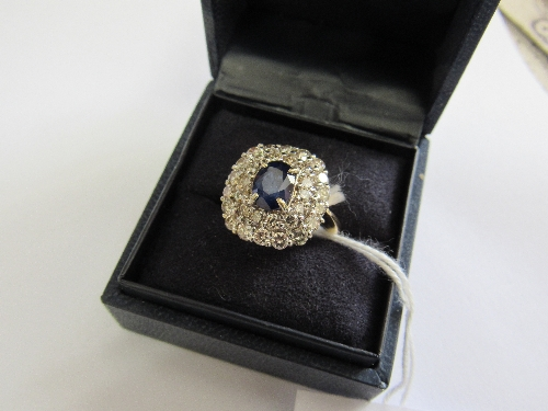 Lot 402 - 18 carat gold sapphire & diamond cluster ring, set with approx 1.5 carats of 8 cut diamonds.