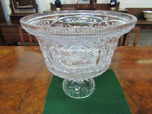 Lot 47 - Large crystal glass punch bowl, 35cms diameter & a crystal glass stand, 15.5cms high