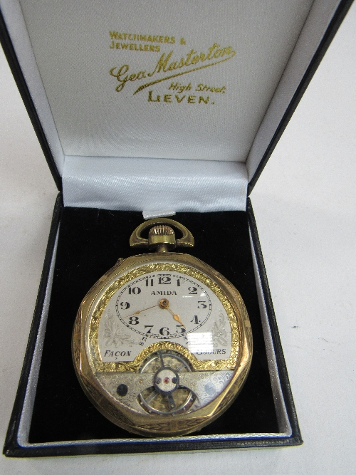 Lot 480 - 1920's Amida gold plated visible Swiss movement 8-day pocket watch in the form of an 1816 Irish penny, good condition & going