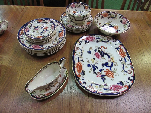 Lot 51 - Part Mason's 'Mandalay' dinner & tea set, approx 46 pieces & 6 cut glass wine glasses