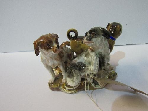 Lot 525 - Very rare Mieissen figurine of 3 dogs, circa 1820
