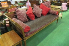 Lot 106 - Hardwood open framed large sofa or daybed comes with cushions, 236cms x 88cms x 90cms.