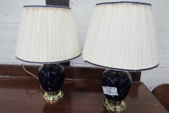 Lot 12 - Pair of Blue Ceramic & Brass Table Lamps