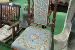 Lot 147 - French upholstered carved & decorated hall chair