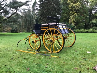 Lot 26 (1) - FOUR-WHEEL DOG CART by Morgan & Co of London to suit 12.2 to 13.3 hh single or pair. An exquisite vehicle painted dark blue and golden yellow with back to back seating upholstered in beige Melton cloth, with a rear drop-down tailboard. On 12/14-spoke English pattern wheels painted yellow with black lines, brass hub caps and elliptic springs. Fitted with a handbrake and lamp brackets, and comes with shafts, swingletree and a pole. This vehicle has not been made with standard off-the-shelf parts, but with everything accurately scaled down from a full-sized Dog Cart. The seller remarks that this is the carriage driving equivalent of a motorised scaled-down Ferrari that a wealthy parent might buy a youngster today!