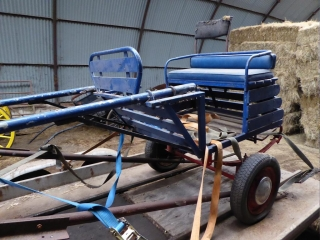 Lot 3 - HEAVY HORSE BREAKING CART painted blue on pneumatic tyres, fixed metal shafts, leaf springs and back step