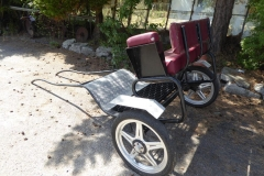 Lot 13 (1) - EXERCISE CART to suit 12 to 13 hh pony; painted black with red vinyl seating