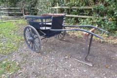 Lot 6 (1) - GOVERNESS CART to suit 12 to 13 hh pony; painted blue on a cranked axle with 14-spoke Warner wheels and elliptic springs. With rein rail and shafts