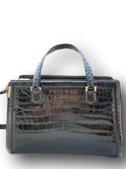 Lot 349 - 1960's Hermes Pullman crocodile handbag with original clochette, keys & dust bag