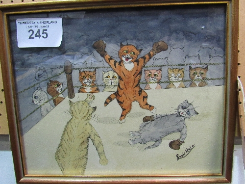 Lot 245 - Pen, ink & watercolour cat cartoon signed Louis Wain 'Boxing Match'