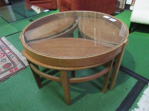 Lot 28 - 1960's teak glass top coffee table with 3 petal shaped tables below