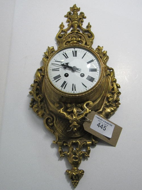 Lot 445 - Antique French Cartel clock, striking on the hour & half hour, with key, going