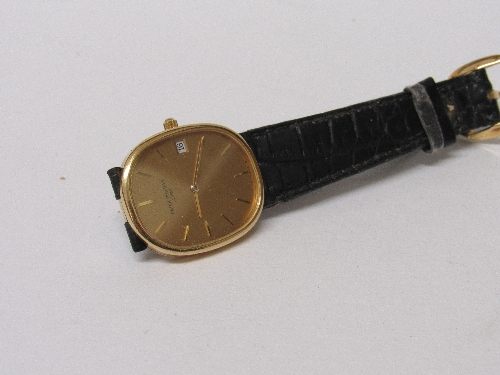 Lot 532 - Patek Phillippe watch, 18ct gold case, strap buckle stamped Patek Phillippe, in original box