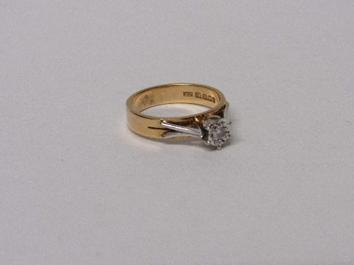 Lot 536 - 18ct gold solitaire diamond ring, wt 4.1gms, size L.