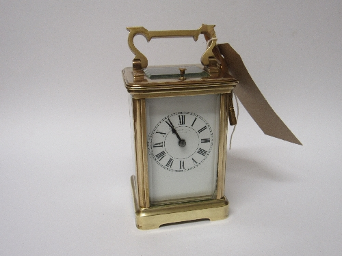 Lot 579 - French 8-day repeater carriage clock, going order with key.