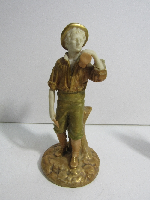 Lot 628 - Royal Worcester figurine of a woodman standing by a tree stump holding an axe and a log