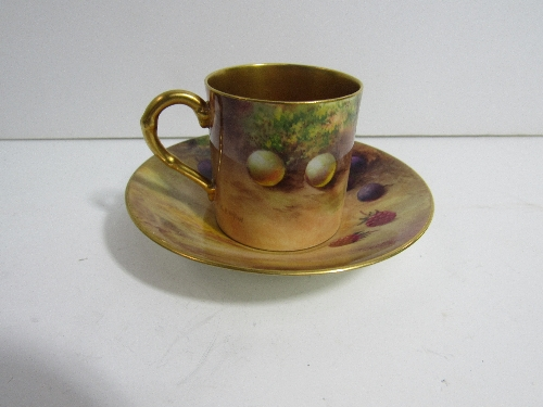 Lot 633 - Royal Worcester coffee cup and saucer of painted fruit and foliage
