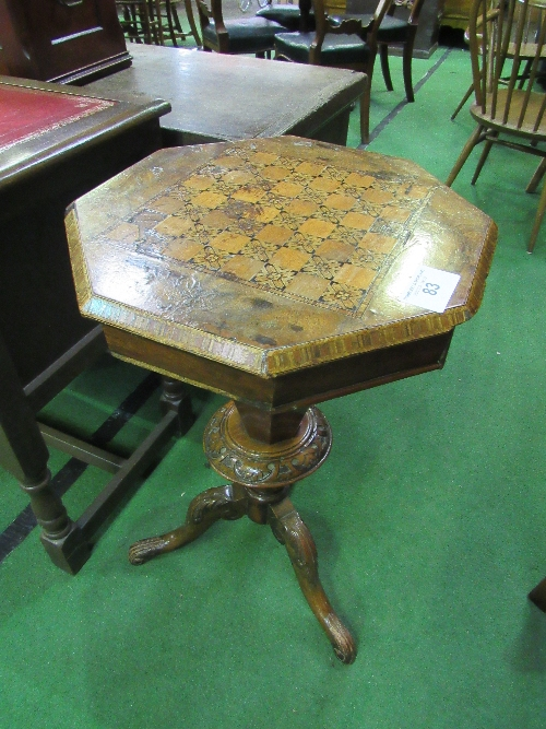 Lot 83 - Mahogany pedestal games table with inlaid chequer board to lifting top