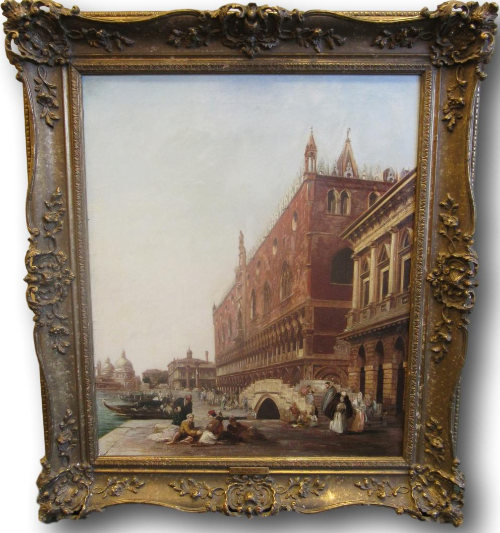 Lot 251 - Edward Pritchett (1828-1864) oil on canvas of the Doges Palace, Venice, signed