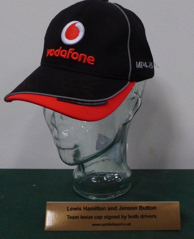Jenson Button & Lewis Hamilton signed cap