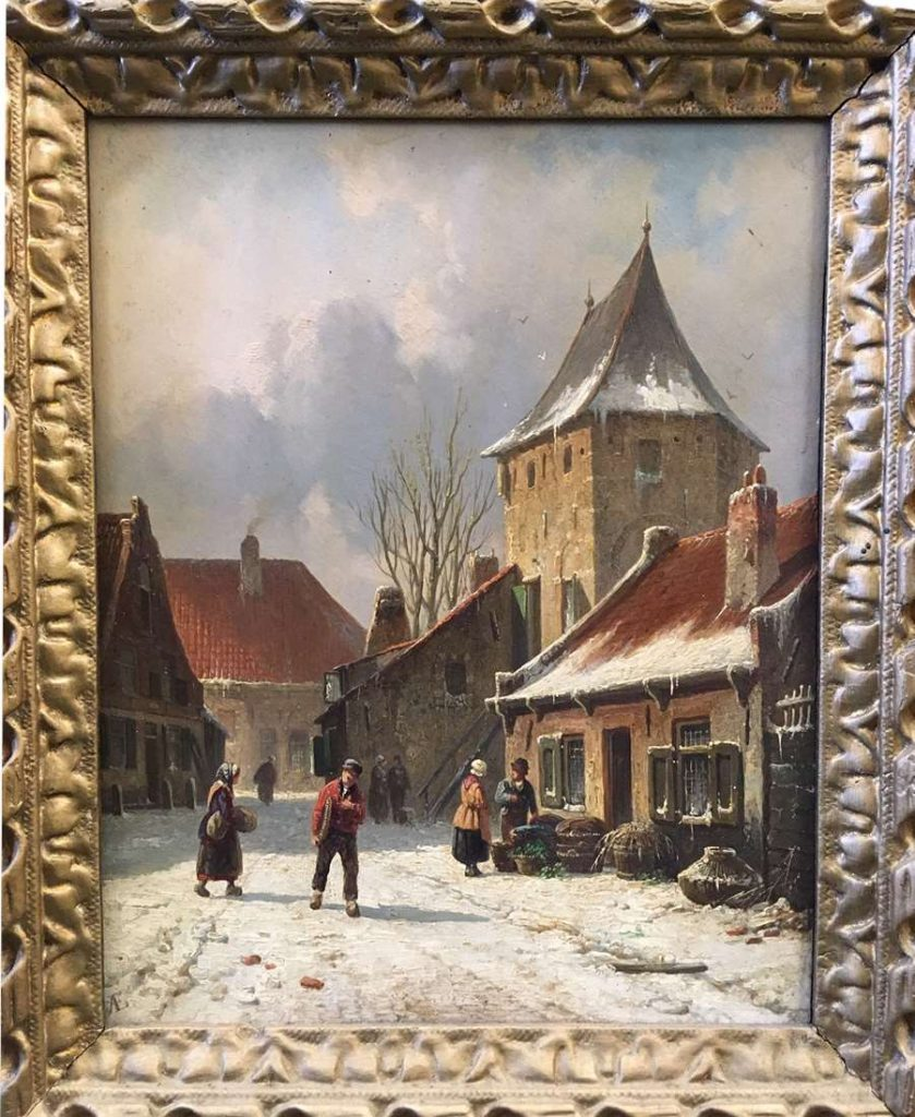 Lot 225 - 'A street scene in snow' by Adrianus Everson to be sold on Saturday 26th October