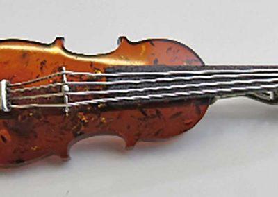 Lot 459 - 925 silver & amber violin brooch