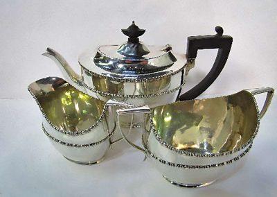 Lot 540 - 3 piece sterling silver tea set, hallmarked Chester, 1918